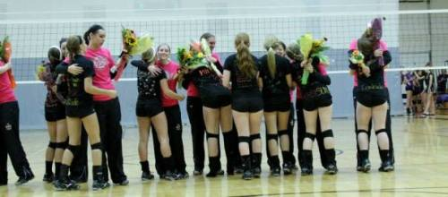 During East Volleyball's Senior Night, the team's underclassmen embrace the team's seniors.