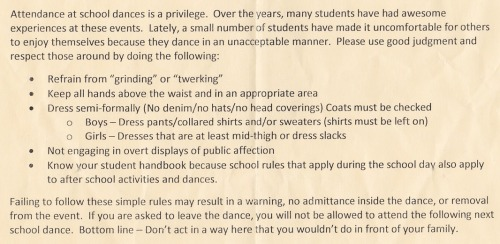 Students attending the Charity Ball received this letter outlining new behavior expectations.