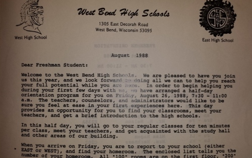 Mini Day letter sent to incoming ninth graders in 1988. Photograph courtesy of Stacy Beltmann, kindergarten teacher at Fair Park Elementary and 1992 graduate of East High.